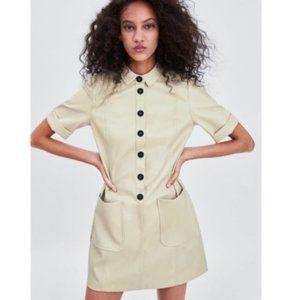 Zara Faux Leather Mini Dress Cream Size Large.